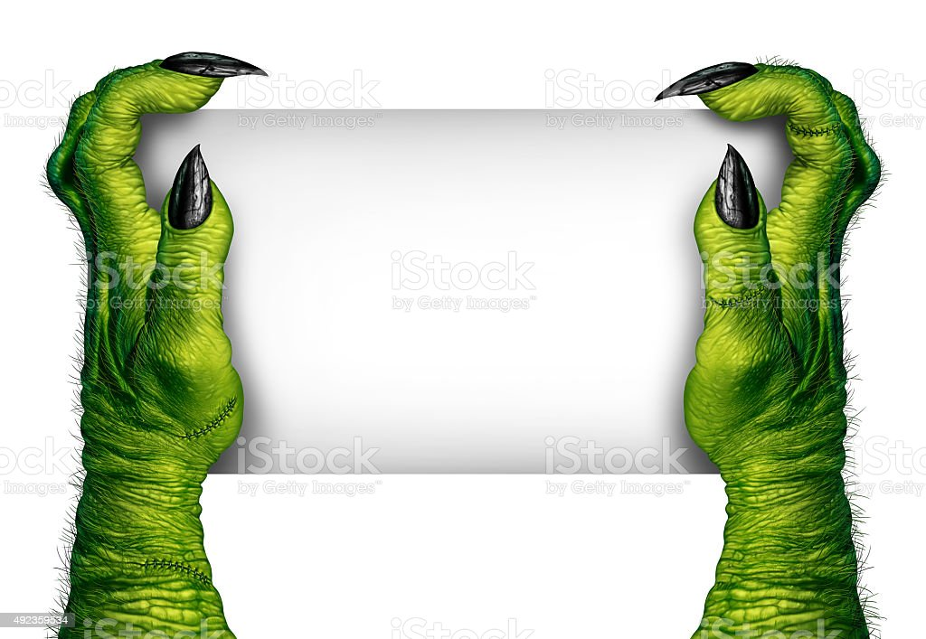 Zombie Hands Holding Sign stock photo