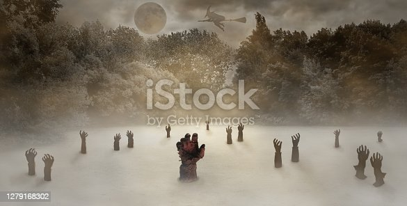 Zombie hands in a swamp among the forest and fog. Unclean power, dead, in the light of the full moon at night. Halloween.