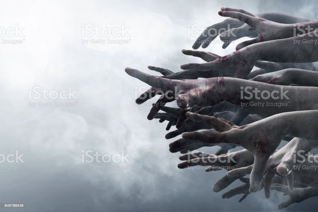 Zombie hands stock photo