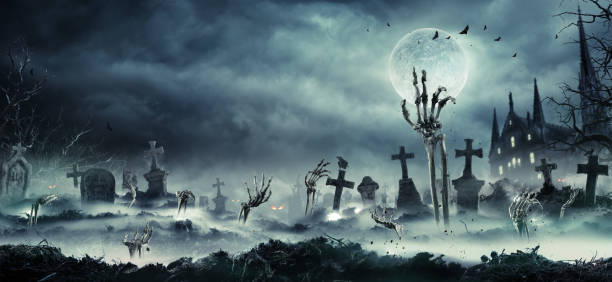 zombie hands rising out of a cemetery - horror stock pictures, royalty-free photos & images