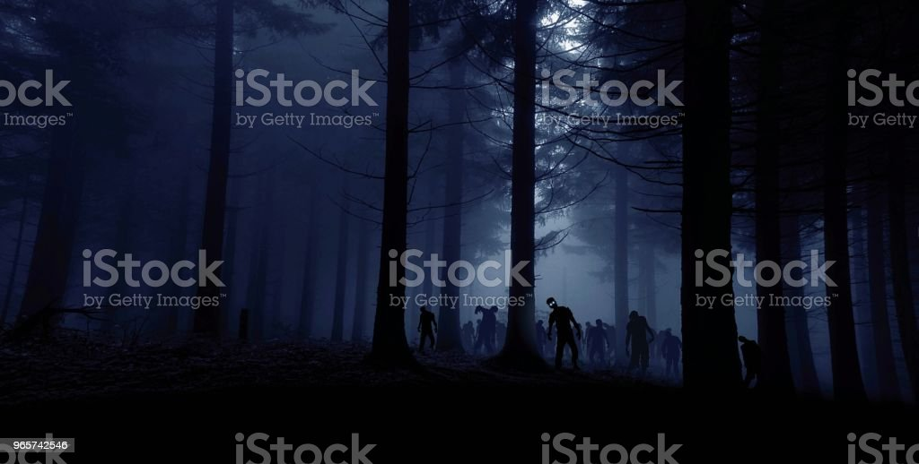Zombie horde in bos - Royalty-free Achtergrond - Thema Stockfoto