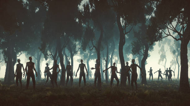 zombie-horden in den wald bei nacht - plants of zombies stock-fotos und bilder