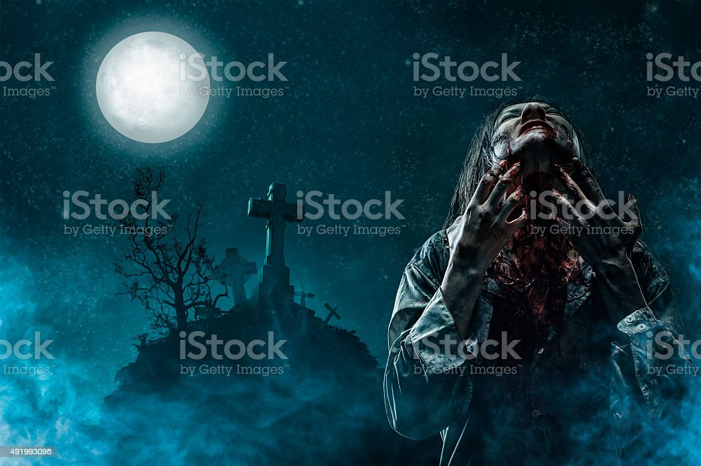 Zombie in Old Cemetery stock photo