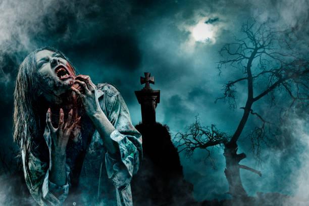 zombie im alten friedhof - plants of zombies stock-fotos und bilder