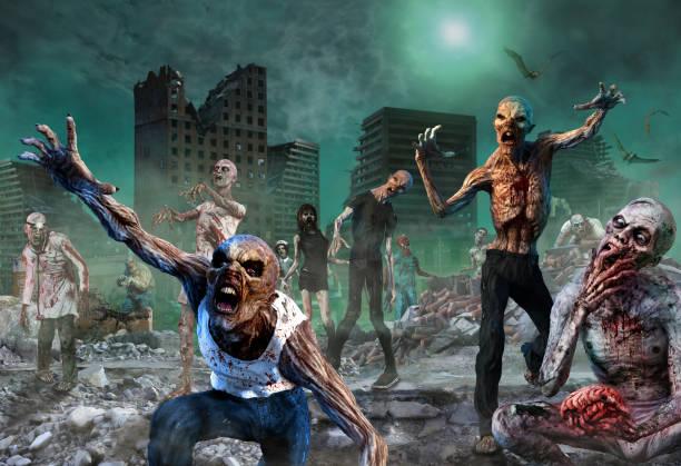 zombie scene 3d illustration - zombie apocalypse stock photos and pictures