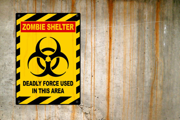 Zombie shelter - Deadly force used in this area stock photo