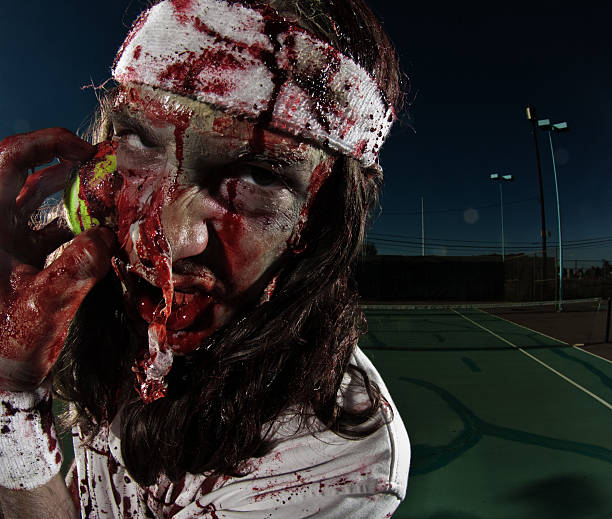 zombie tennis player stock photo
