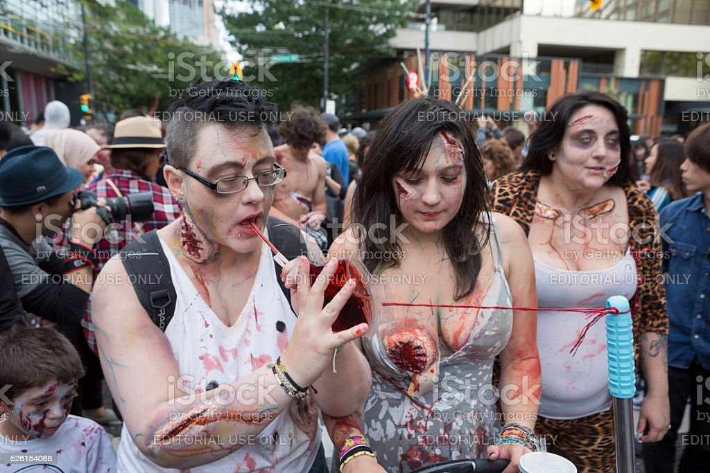 Zombie Walk Vancouver BC Canada Parade with Zombies September 2015 stock photo