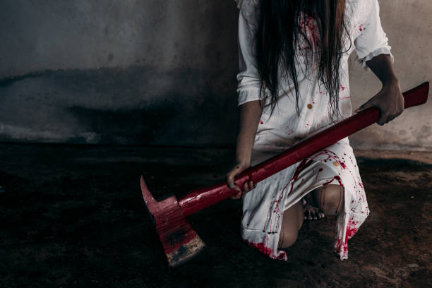 Zombie woman or ghost holding axe sitting with blood in house of ruin picture id843978530?b=1&k=6&m=843978530&s=612x612&w=0&h=2dezrqnrwz5 gavx5qurb019surbrs7vuaa0tqob6b8=