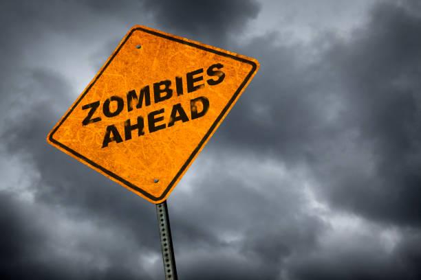 zombies ahead - zombie apocalypse stock photos and pictures