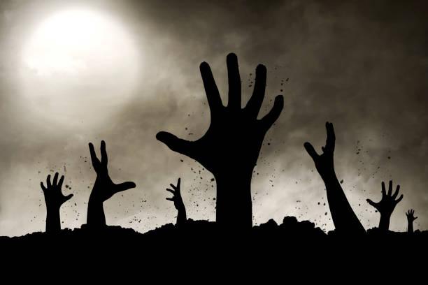 zombies hand silhouette - halloween grabsteine stock-fotos und bilder