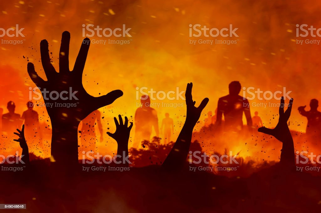 Zombies hand silhouette stock photo