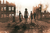 Zombies horde in ruined city after an outbreak,3d illustration for book cover