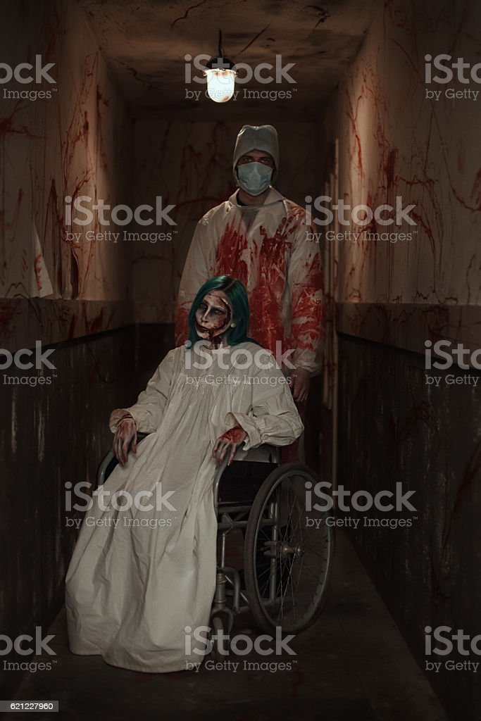 Zombies in an abandoned hospital stock photo
