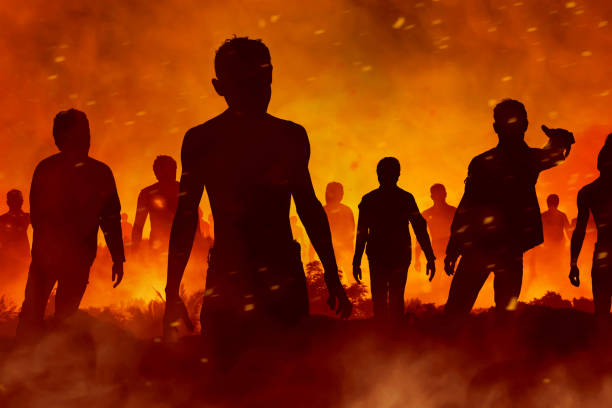 zombies silhouette - zombie apocalypse stock photos and pictures