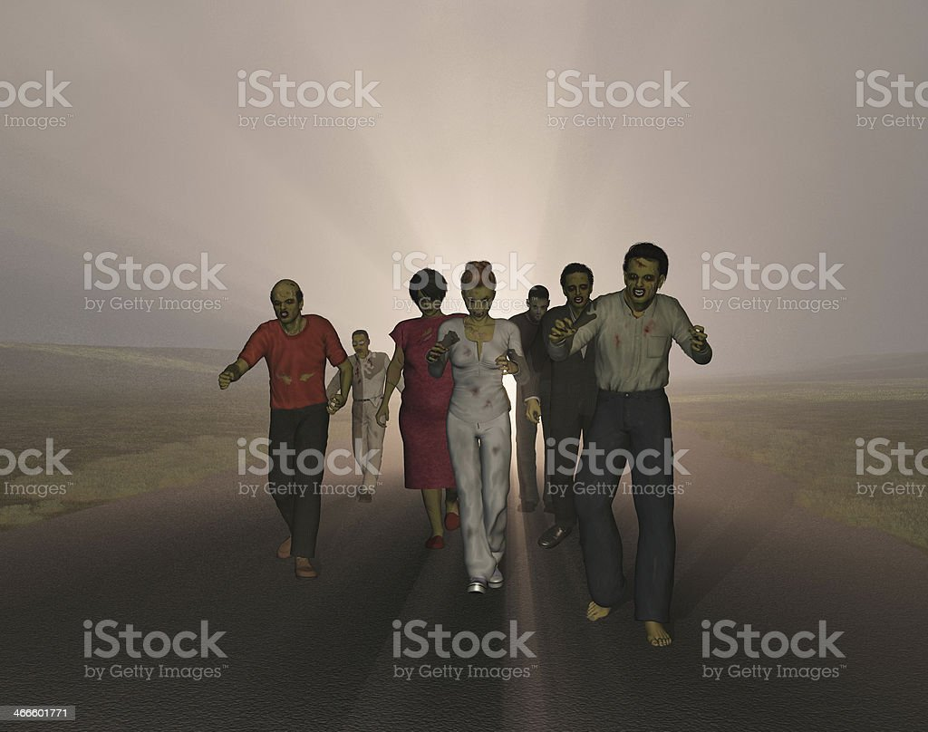 Zombies walking on a road stock photo