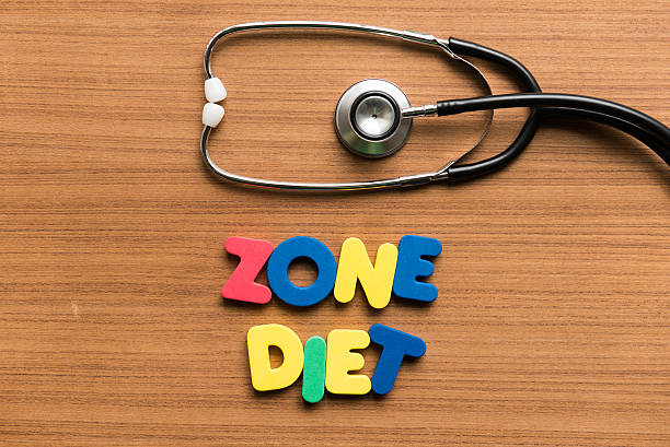 zone diet colorful word with stethoscope stock photo