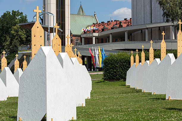 zone of reconciliation at the sanctuary of divine mercy in lagiewniki - jugendweihe 2016 stock-fotos und bilder