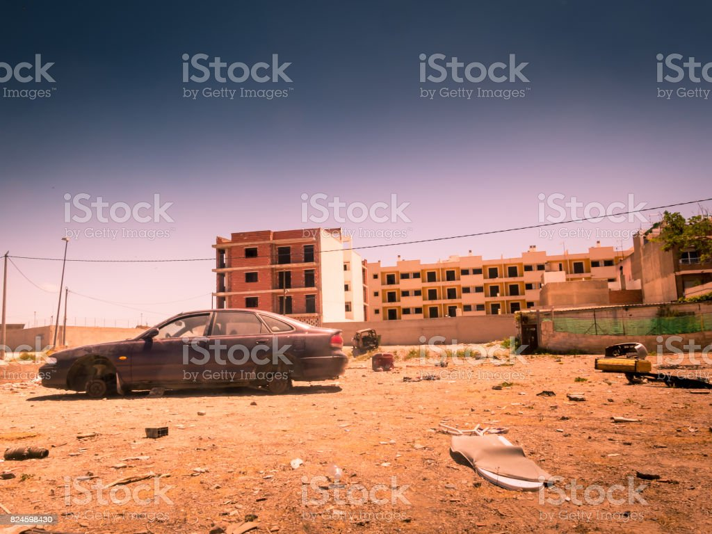 Zone of war, abandoned area stock photo