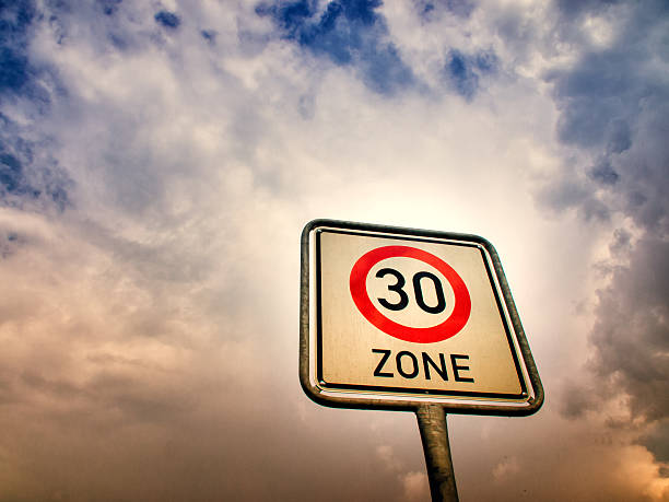 30 zone sign, speed limit - number 30 stock photos and pictures