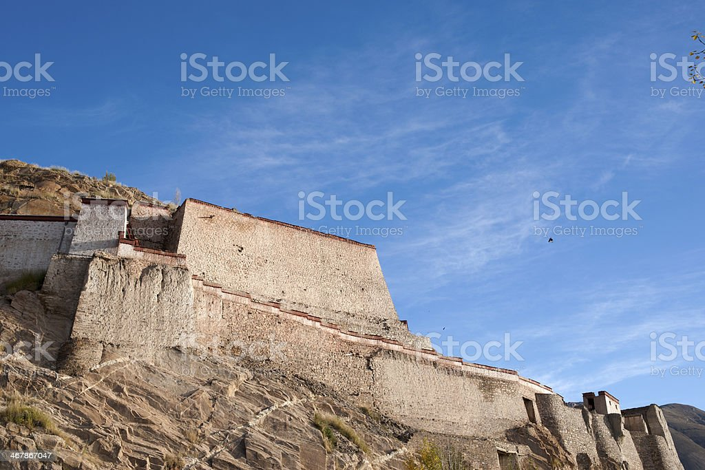 Zongshan castle. Taken in the Gyangtse(Gyangze) of Tibet. stock photo