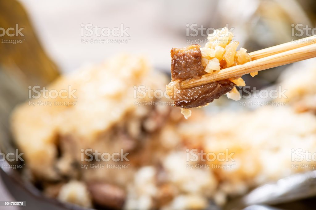 zongzi(rice dumpling) filling close-up shot on a wood table, Dragon Boat Festival, Asian traditional food, Chinese royalty-free stock photo