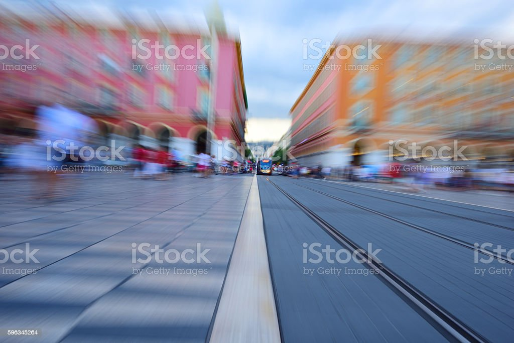 Zoom blurred street car, tram royalty-free stock photo