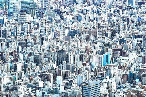 istock Zoom detail close up of Tokyo city skyline from above at blue hour - Japanese world famous capital with spectacular urban landscape panorama - Concrete cement jungle concept on azure filter 1095321612