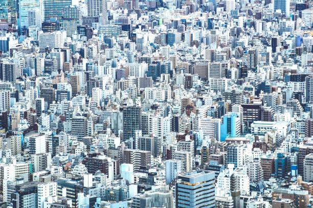 ズームの詳細を azure フィルター青の時間 - 日本の世界有名なキャピタル壮大な景観のパノラマ - セメント コンクリート ジャングル コンセプトで上からの東京市街のスカイラインのクローズ - 街 日本 ストックフォトと画像