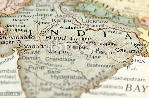 A macro photograph of India from a desktop globe. Adobe RGB color profile.