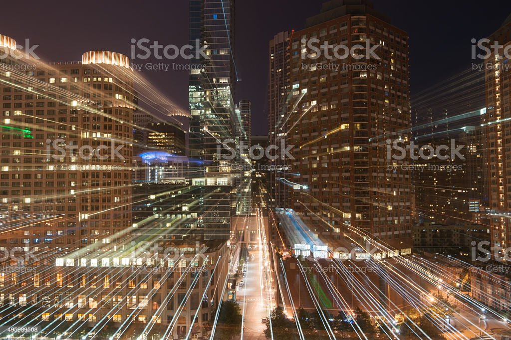 Zoom light streams architecture and cityscapes stock photo