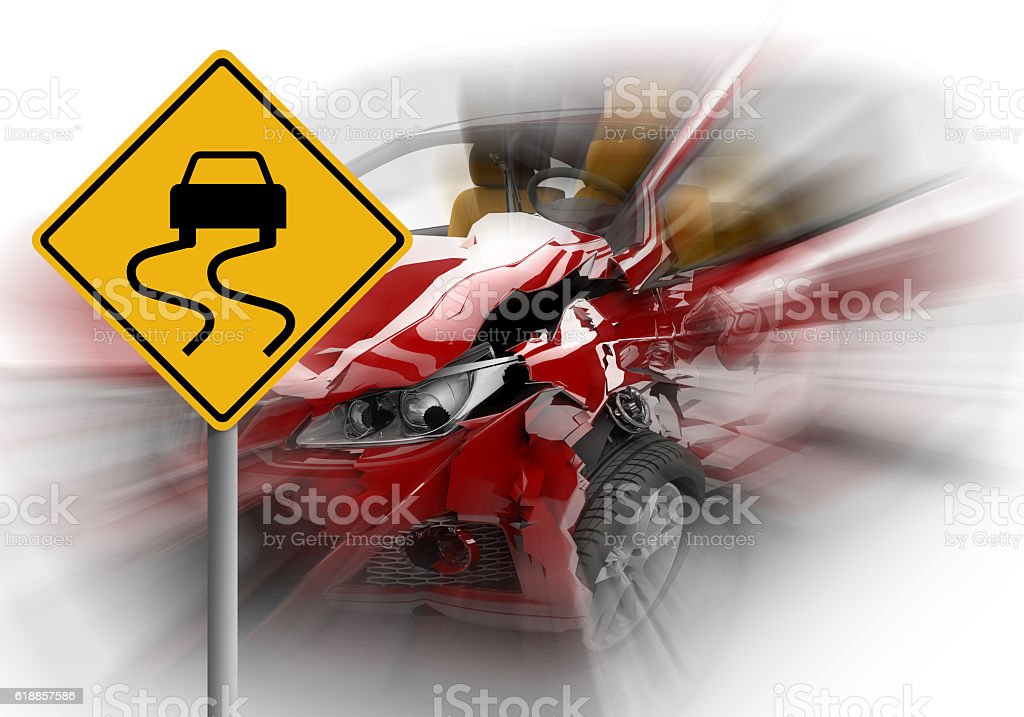 Zoom on a red car accident with danger yellow sign stock photo