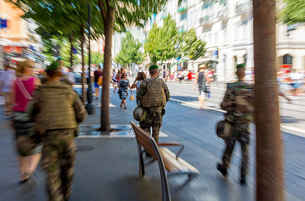Zoom on soldiers in Nice, France after Terrorist Attack stock photo