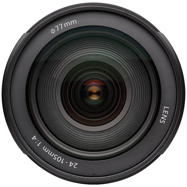 Zoomed in camera lens on white background stock photo