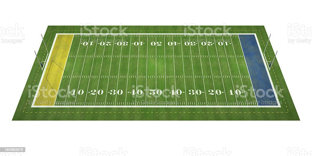 A zoomed out view of a football field royalty-free stock photo
