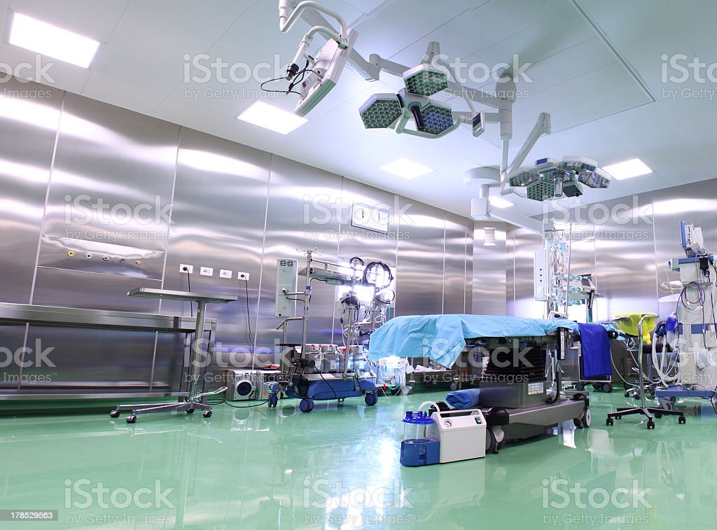 A zoomed out view of an operating room stock photo