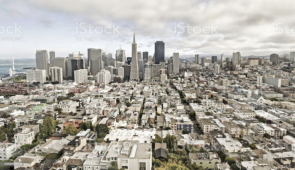 Zoomed out view of San Francisco buildings stock photo