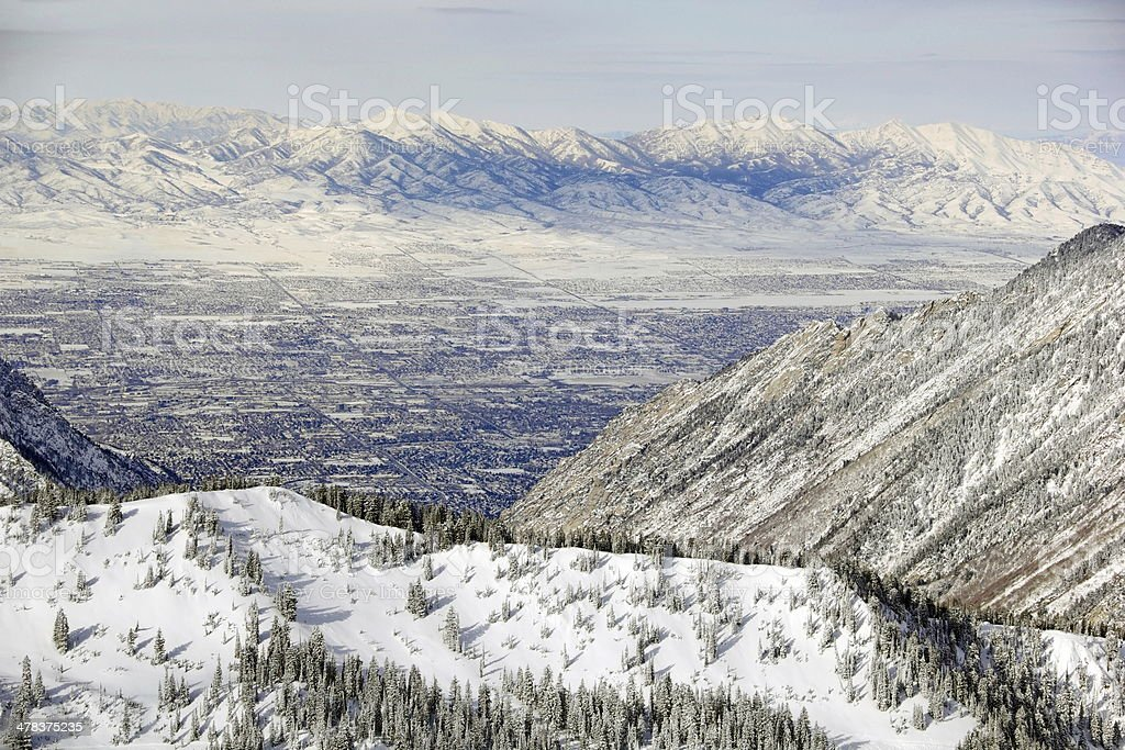 Zoomed View of Salt Lake City from Snowbird Mountain stock photo