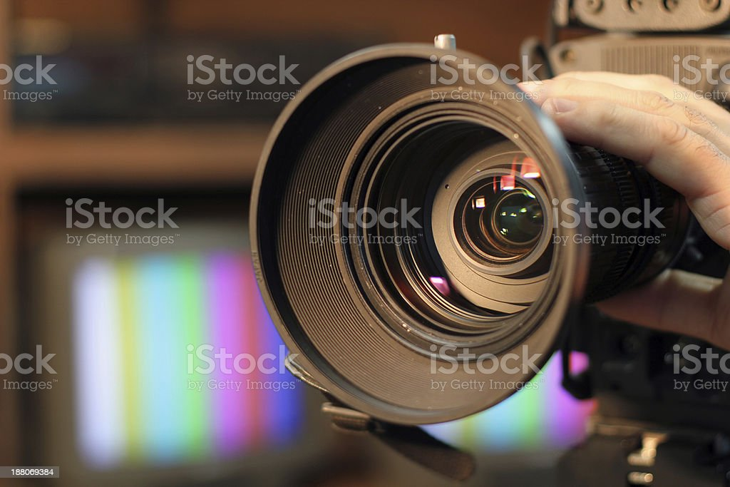Zooming Video Camera Lens stock photo