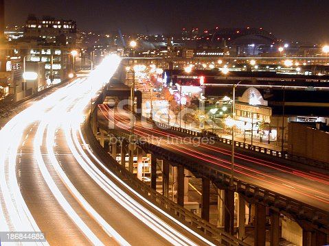 Time exposure of traffic on the Seattle Hiway 99 viaduct.