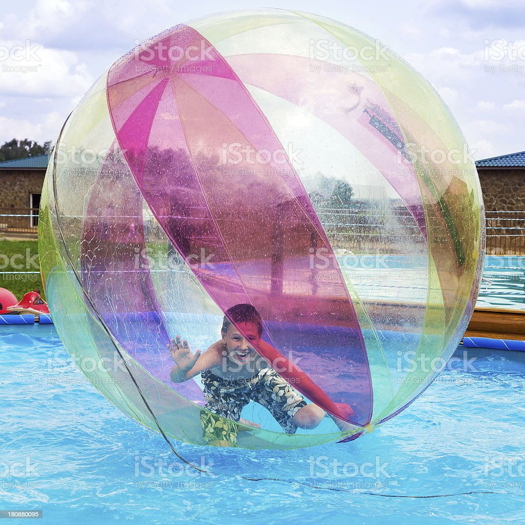 Zorbing. Entertainment on water stock photo