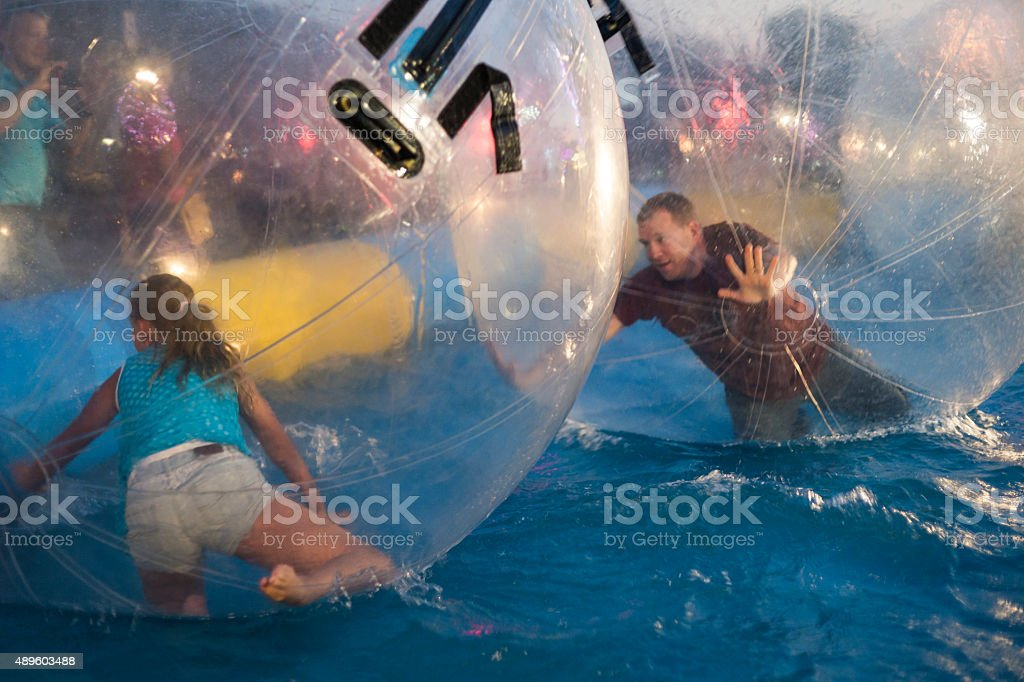 Zorbing fun at county fair stock photo