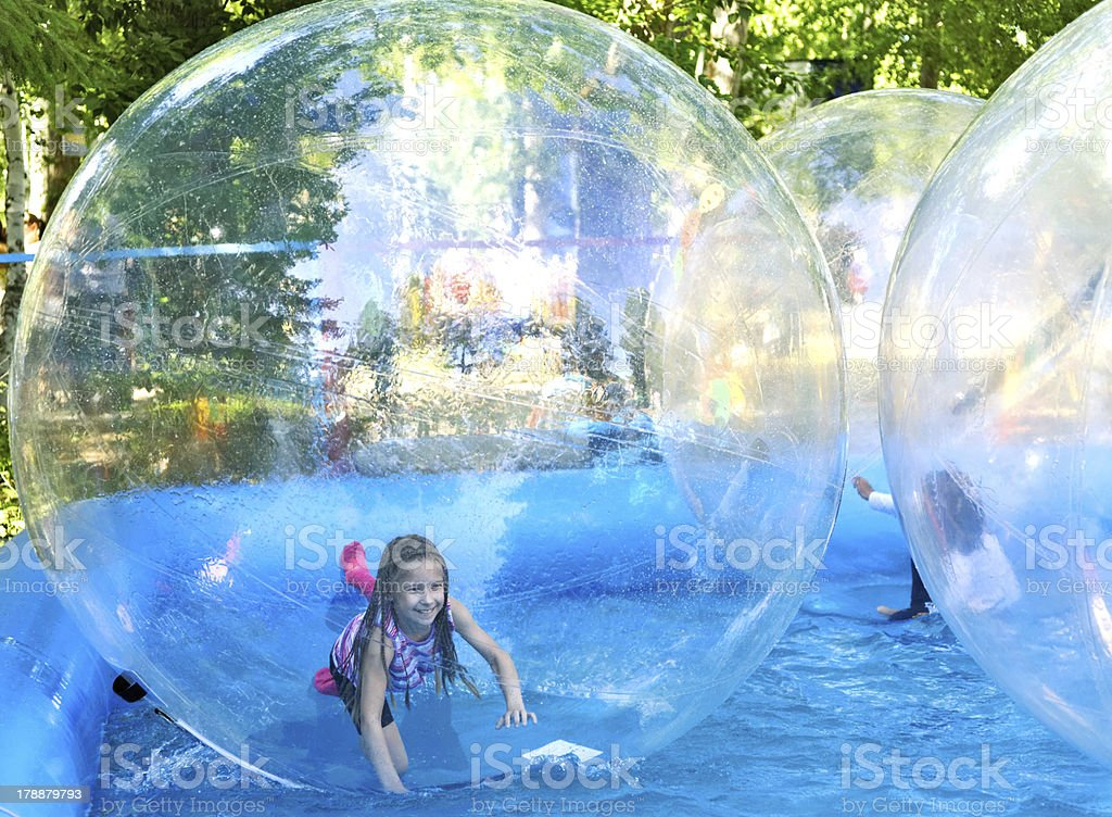 Zorbing in park stock photo
