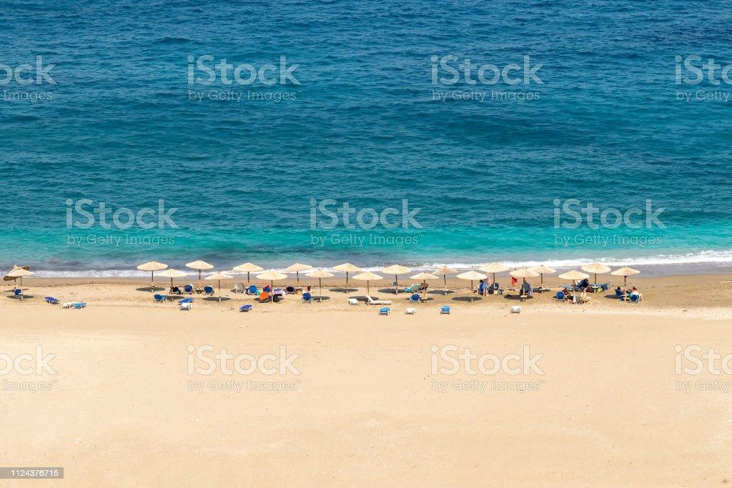 Zorgos beach at Andros island in Greece. stock photo
