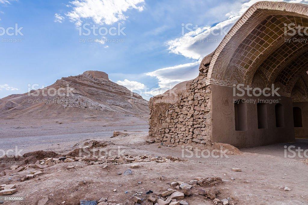 Zoroastrian Tower of Silence in Yazd, Iran stock photo