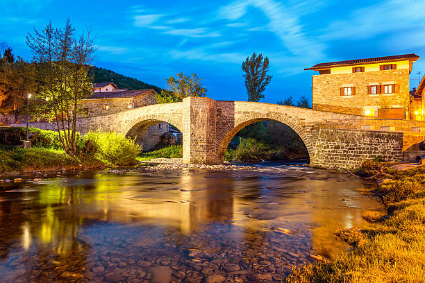 Zubiri, Puente de la Rabia, Spain stock photo