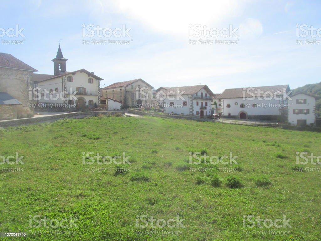 Zubiri- village in Spain stock photo