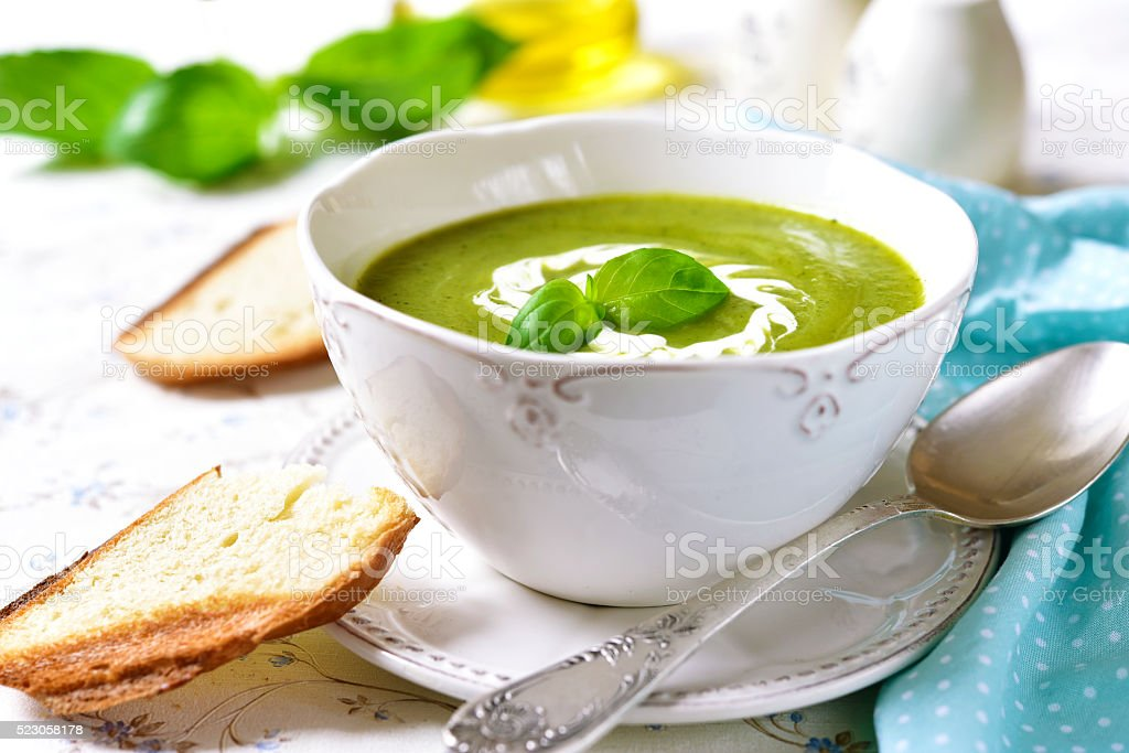 Zucchini creamy soup. stock photo