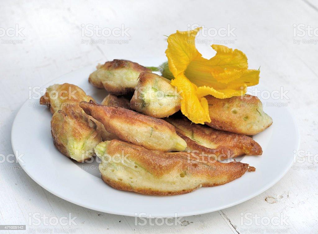 zucchini flowers stock photo