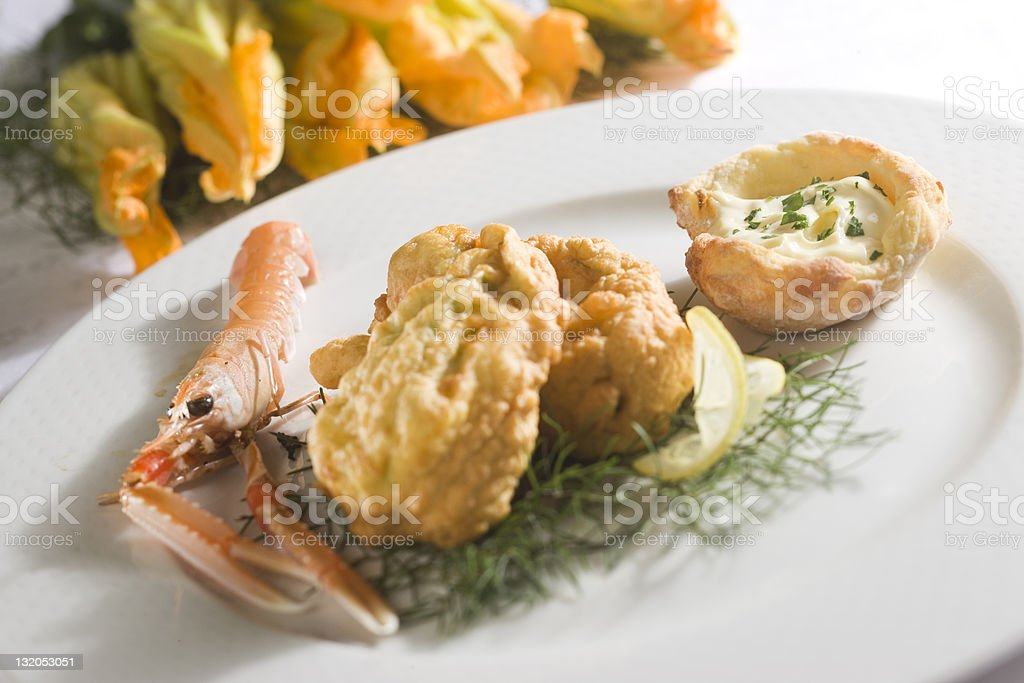 zucchini flowers with shrimps stock photo